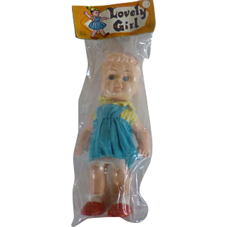 SALE 1950's Lovely Girl Doll, Hong Kong China, Original Package Unopened, Vintage, One-of-a-kind