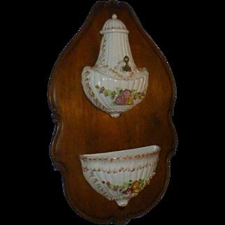 SALE Antique Victorian Capodimante Lavabo, Wittenburg Germany Porcelain Mark, Early 1900's,  Ceramic, Hand Painted, European Walnut