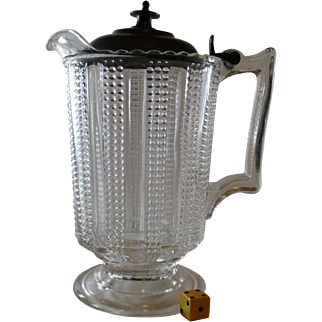 SALE Antique  Glass Pitcher, Pewter Top, Superb Condition, Early 1900's American