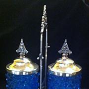 Cut Glass Bright Cobalt Blue Double Pickle Castor set