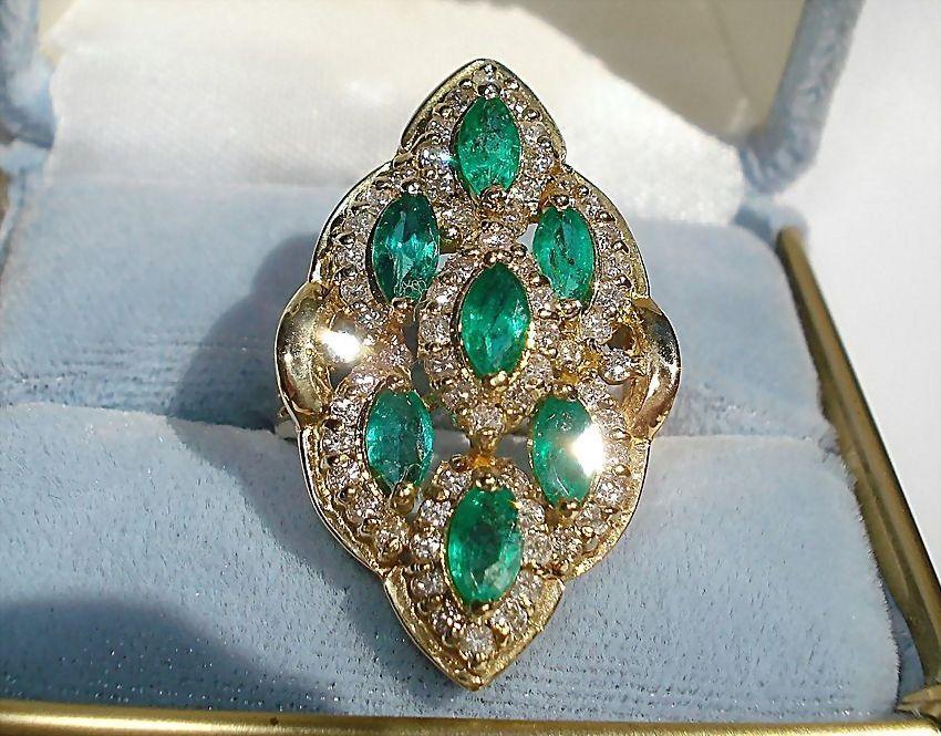 14K Yellow Gold, 2.66cts. Emeralds & 1.65cts. Diamond Ring