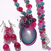 Fuchsia/Teal/Purple Druzy on Ruby, Agate/Crystal Necklace/Earring Set