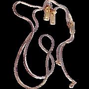 Vintage (Lariat Style) Goldtone Zipper Necklace & Pierced Earring Set