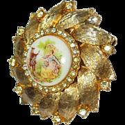 Vintage Golden Wheel of Serenade Brooch
