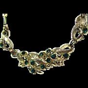 Vintage Green Rhinestone/Goldtone Necklace