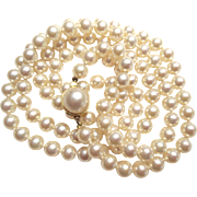 """VINTAGE 6mm Knotted Cultured Freshwater Pearls/30"""""""
