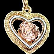 Vintage 14k  Tri-Colored Gold Heart/Rose Pendant