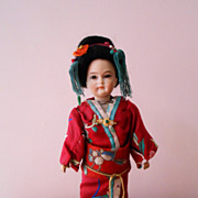 Rare  German Bisque Character Asian Lady  Portrait Doll  All Original Fantastic