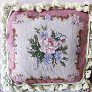 SALE Square Pink Rose Needlepoint Pillow Hand Made  Beautiful