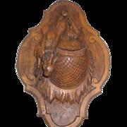 "19th. cent. Black Forest Figural Carved Plaque Wood Hunt Theme 10"" Match Holder"