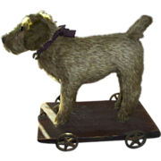 """SALE Early 10"""" Dog on Cast Iron Metal Wheels, Long Mohair Pull Toy Ex. Condition"""