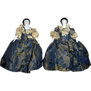 "Pair 5.5"" Miniature China Head Twin Ladies All Original Excellent Condition Fabulous"
