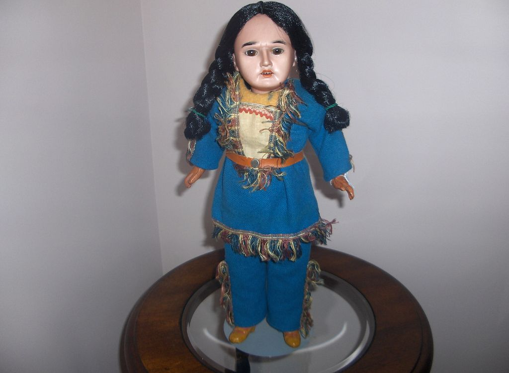 German Bisque  AM. Indian Character Doll