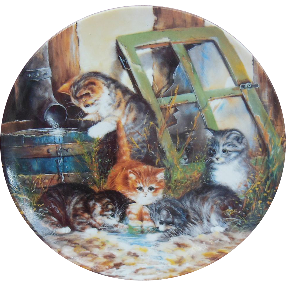 """""""Wasserspiele"""" or """"Water Games"""" Cat Collector Plate by Wolfgang Kaiser"""