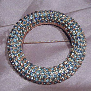 Pretty Light Blue Rhinestone and Silver Tone Circle Pin