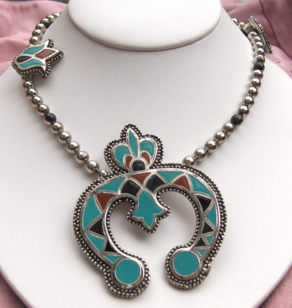 Bold and Beautiful Turquoise, Black and Terracotta Necklace Copy of Squash Blossom Necklace