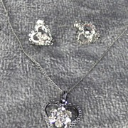 Delicate and Pretty Rhinestone & Sterling Silver Heart Pendant and Earring Set