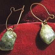 Small Jade Stone Pierced Earrings