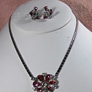 Beautiful Pink and Clear Rhinestone Pendant and Screw Back Earring Set