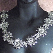 Beautiful Silver Tone Sunflower and Bird Necklace Choker