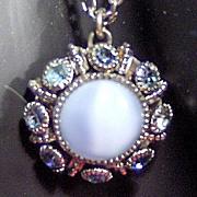 Signed Avon Moon Magic Pale Blue Stone Pendant