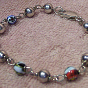 Lovely Sterling Bead and Art Glass Bead Bracelet