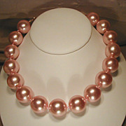 Fifties Bold Pink Luster Bead Necklace or Choker