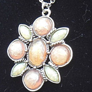 Beautiful Pink and Blue Fiery Faux Opal and Silver Tone Pendant Necklace Signed SFJ