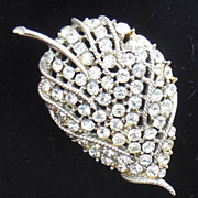 Large Clear Rhinestone Leaf Pin