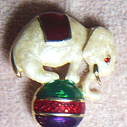 Adorable Cream Colored Enameled Elephant Balancing on Ball Pin