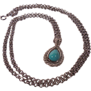 Avon Faux Turquoise Tear Drop Stone Pendant Frosty Silver Tone Rope Setting Long Adjustable Chain
