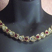 Gold Tone Heart Link with Red and Clear Rhinestone Necklace Choker