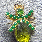 Green Rhinestone and Large Green Crackle Stone Bug Pin