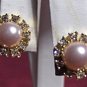 Lovely Faux Pearl, Rhinestone and Gold Tone Clip On Earrings