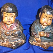 Lovely Pair of 19th Century Chinese Boy and Girl Chalk Figurines