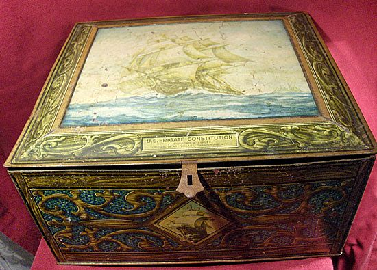 Large Biscuit Tin with U. S. Frigate Constitution in Full Sail