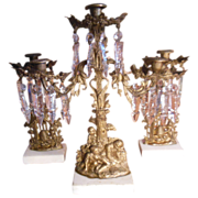 Antique Brass and Crystal Girandole 3 Piece Mantle Candle Holders