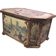 Early English Huntley & Palmers Hinged Biscuit Tin Paneled Sides Ice Skaters and Dutch Scenes