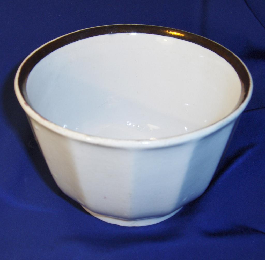 Copper Luster White Ironstone Waste Bowl