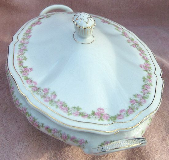 Vienna Austria Porcelain Pink and White Flowers Handled Oval Covered Vegetable Bowl or Casserole
