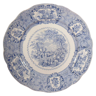 Blue Transferware Plate Ridgways Oriental Pattern Circa 1900