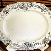 Slate Blue and White Transferware JHW & Sons Platter Stratford