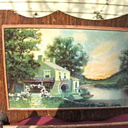 Early Wood and Glass Pictorial Kitchen Towel Holder