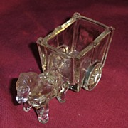 Glass Pony or Horse and Cart Candy Container