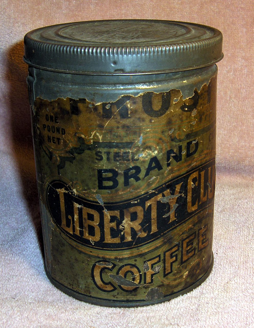 Old Advertising Frost's Liberty Club Coffee Tin or Can with Paper Label
