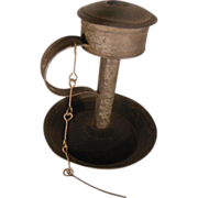 Early Lard Oil or Grease Tin Shop Lamp with Wick Pick