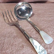 Antique Sterling Silver and Mother of Serving Fork and Ladle Set