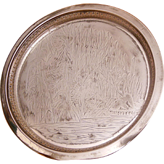 """Rockford Quadruple Silver Plate 10"""" Round Tray Moses in the Rushes Pattern 415 Circa 1910"""