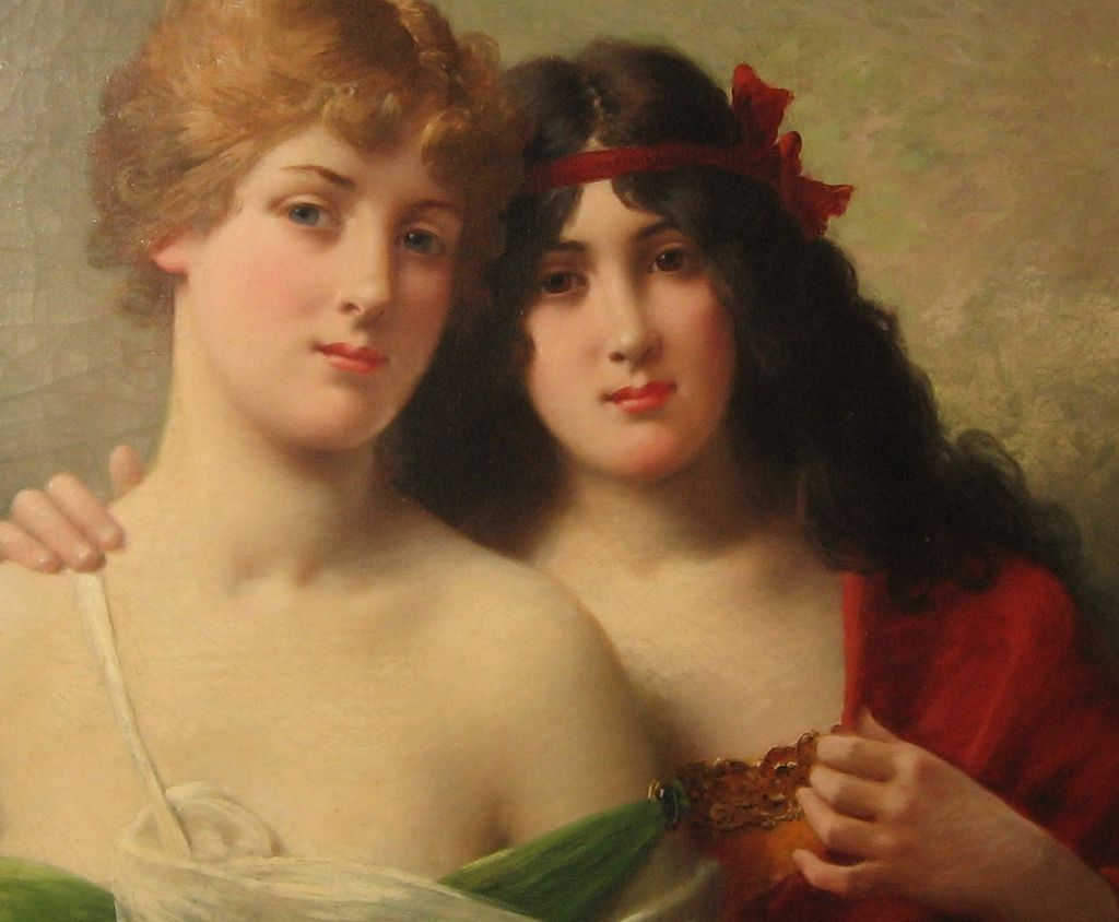 """Oil on Canvas """"Blonde and Brunette"""" by J. Ballavoine has  Note from Artist"""