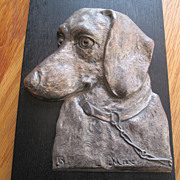 """Great Dachshund Plaque - """"Max"""" - 1930's"""